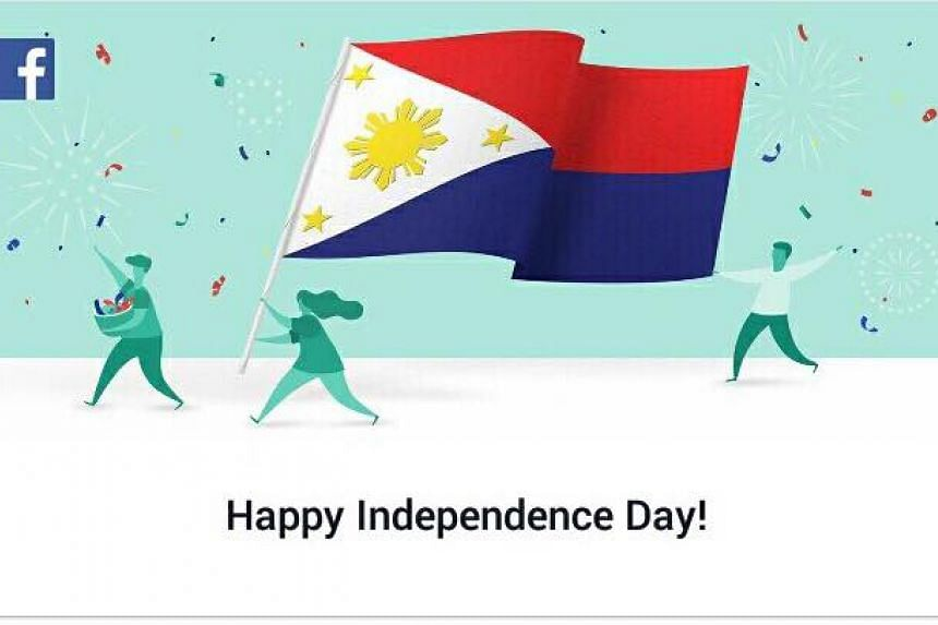 """The Philippine flag, which accompanied the """"Happy Independence Day"""" greeting, showed that the red side of the flag was on top on Facebook on June 12."""