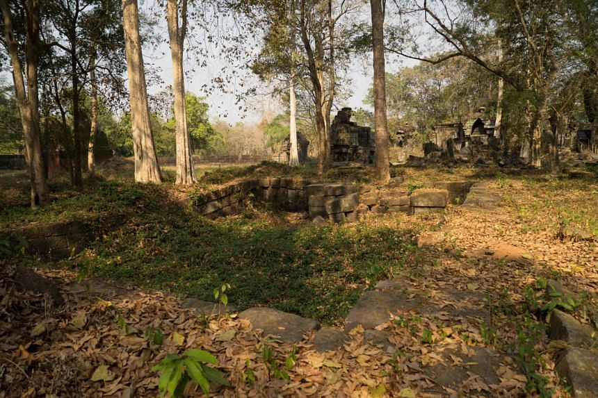 The ruins of Preah Khan of Kompong Svay covered with forest, in Siem Reap province.