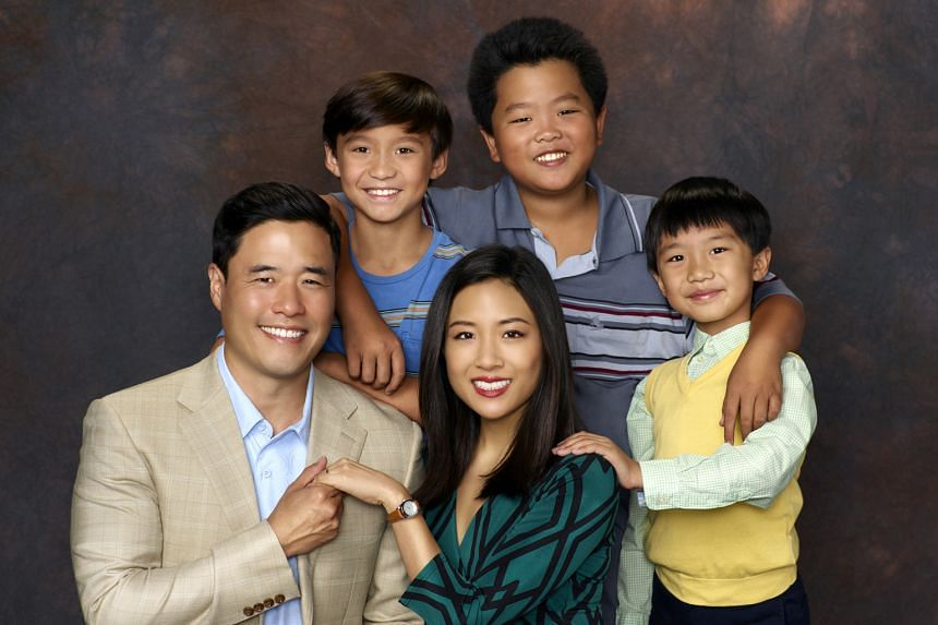 The cast of sitcom series Fresh Off The Boat: (from right) Ian Chen, Hudson Yang, Constance Wu, Forrest Wheeler and Randall Park.