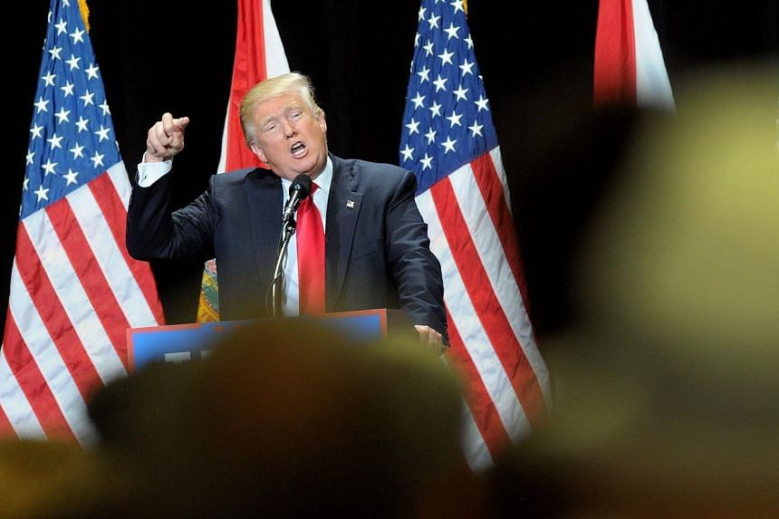Donald Trump speaks during a campaign rally at the Tampa Convention Centre on June 11, 2016.