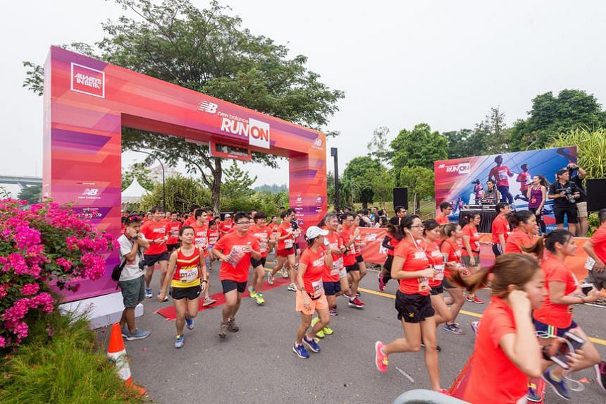 Participants in the first New Balance Run On Singapore on Oct 24, 2015.