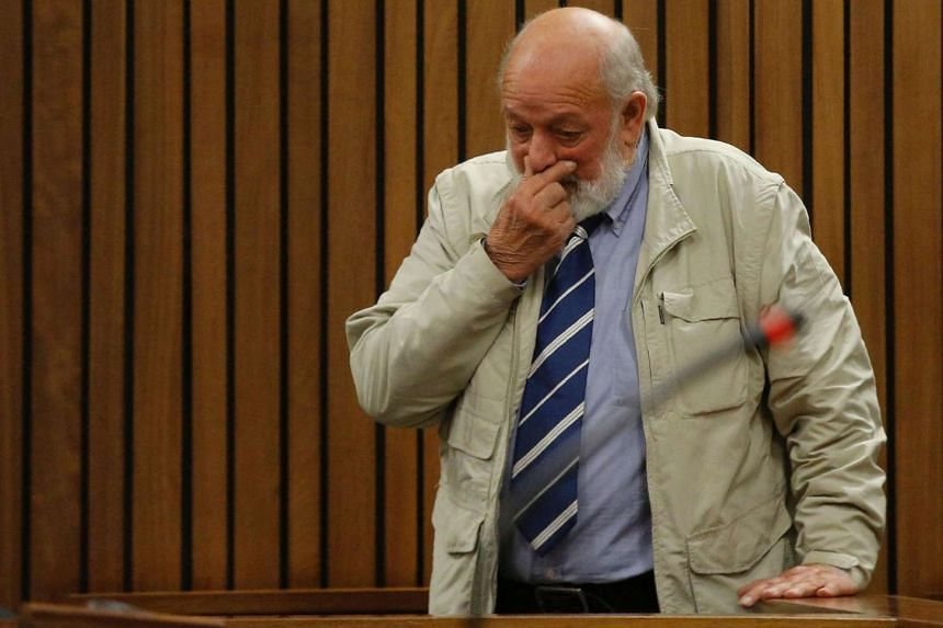 Barry Steenkamp, father of late Reeva Steenkamp, gestures as he testifies at the Pretoria High Court on June 14, 2016.