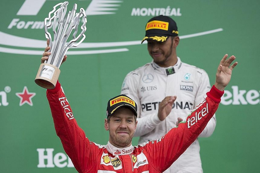 Vettel (front) finished behind Hamilton (back) in the Canadian GP.