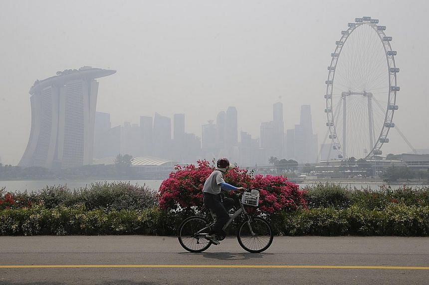 """The Singapore skyline shrouded in haze in October last year. The possibilities of the Coasean approach would seem especially promising if Singapore and Singaporeans could somehow overcome understandable concerns that """"natural justice"""" requires that t"""