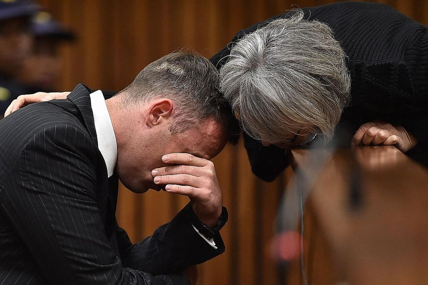 Pistorius wept quietly, but regularly, during the day-long hearing, leaving his eyes puffy and his face red. At one point, a member of his legal team passed him a packet of tissue paper and water. The Paralympic gold medallist, known as Blade Runner