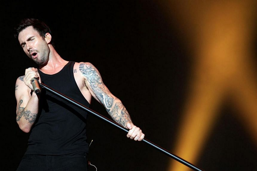 Adam Levine of American pop-rock band Maroon 5 performed at the SingTel Singapore Grand Prix Formula One Concert in 2012.