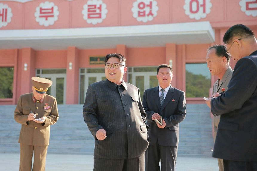 Kim Jong Un visits the remodeled Mangyongdae children's camp in this undated photograph.
