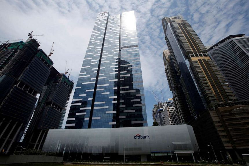 A general view of Asia Square Tower 1 (center) in Singapore's financial district on June 6.