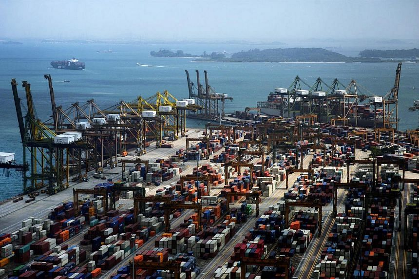 Singapore's cargo container traffic went up last moth for the first time in more than a year.