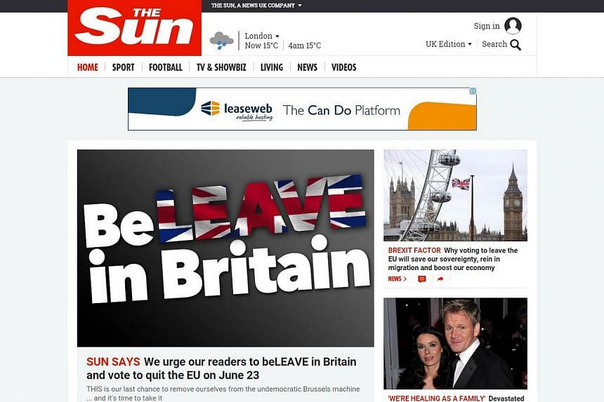 A screengrab from The Sun's website showing its editorial urging readers to vote to leave the European Union.