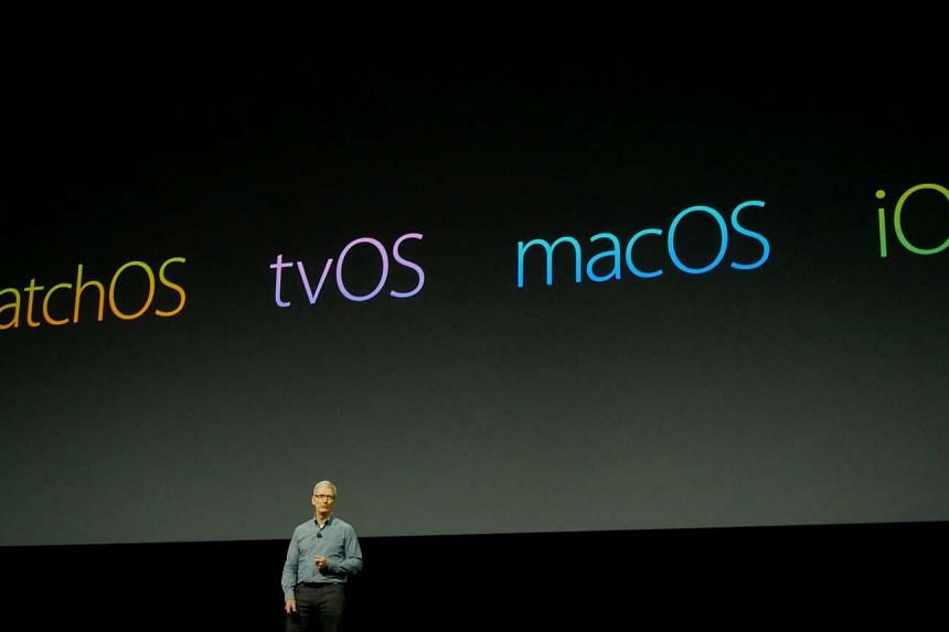 Apple CEO Tim Cook speaking as the Cupertino tech giant unveiled new software for its mobile devices, computers, smartwatch and TV set top box during the keynote address of Apple's Worldwide Developer Conference 2016 in San Francisco.