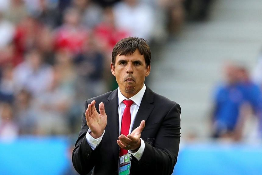 Wales' coach Chris Coleman at the UEFA EURO 2016 group B preliminary round match between Wales and Slovakia at Stade de Bordeaux in Bordeaux, France, June 11.