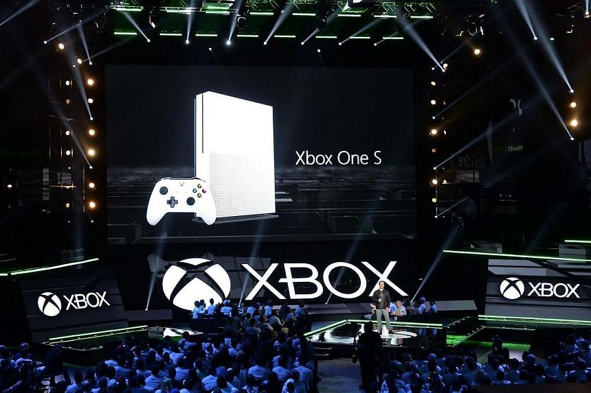 Head of Xbox, Phil Spencer announcing the new Microsoft Xbox One S game console during the Microsoft Xbox news conference.