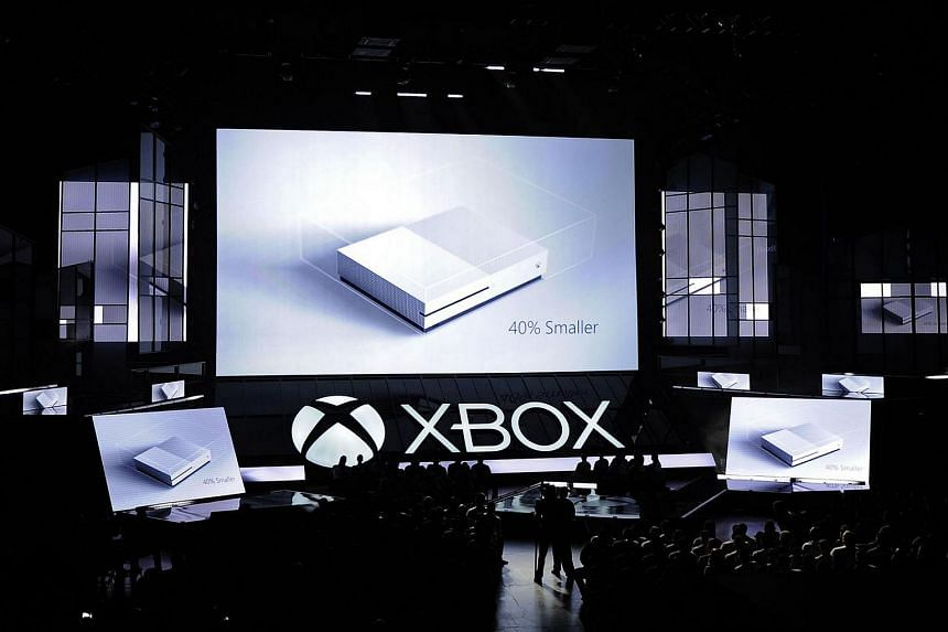The new Microsoft Xbox One S console is announced during the Microsoft Xbox news conference at the E3 Gaming Conference.