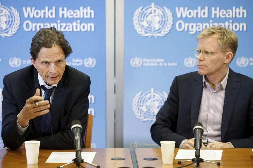David Heymann (left), Chair of the World Health Organization (WHO) Emergency Committee on Zika, and Bruce Aylward (right), Executive Director ad interim of the Outbreaks and Health Emergencies Cluster of WHO, speak to the media on June 14, 2016.