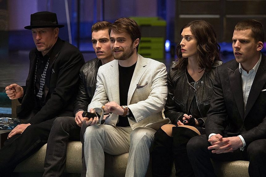 Now You See Me 2 stars (from left) Woody Harrelson, Dave Franco, Daniel Radcliffe, Lizzy Caplan and Jesse Eisenberg.