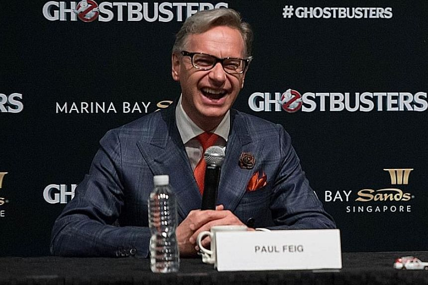 Ghostbusters' director Paul Feig (above) and actress Melissa McCarthy at the Ghostbusters press conference.