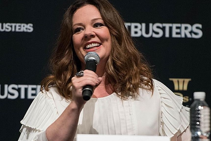 Ghostbusters' director Paul Feig and actress Melissa McCarthy (above) at the Ghostbusters press conference.