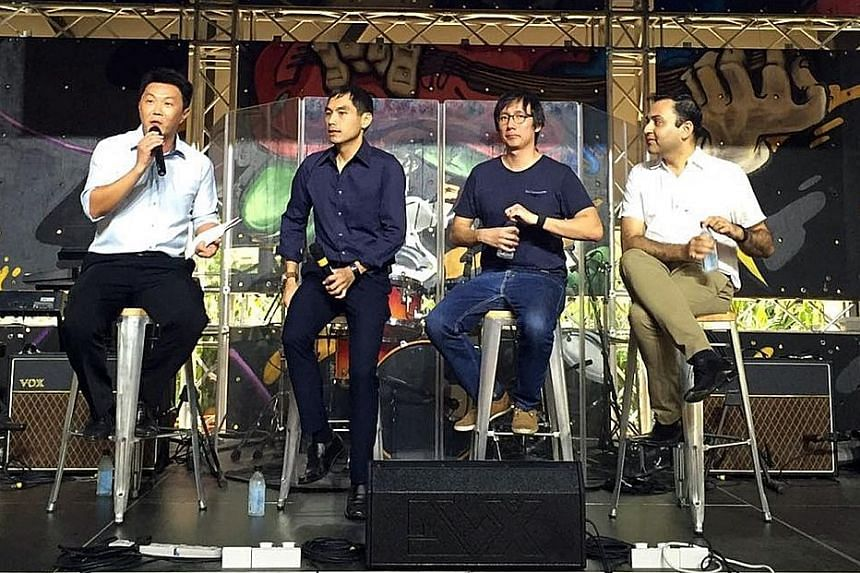 Speaking at the book launch yesterday were (from left) CEO of Singapore Productivity Centre Michael Tan, Ras' Mr Khoo, Timbre Group's Mr Chia, and McKinsey's Mr Potia.