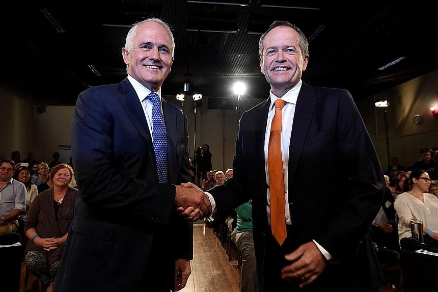 The ruling Liberal-National coalition, led by Mr Malcolm Turnbull (left), and the opposition Labor party, led by Mr Bill Shorten, are neck and neck in recent opinion polls, in what was seen as an unloseable election for Mr Turnbull.