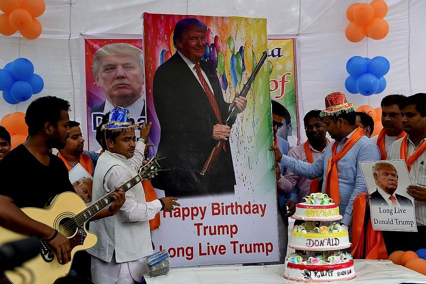 Republican presidential candidate Donald Trump's fame has spread to India, where his supporters celebrated his 70th birthday yesterday. The celebration in the Indian capital, New Delhi, was organised by a little-known right-wing group Hindu Sena, whi