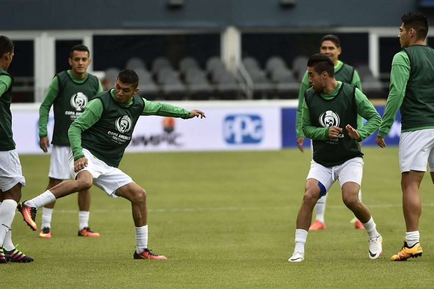 Bolivia players training at the Century Link Field Stadium in Seattle on June 13.