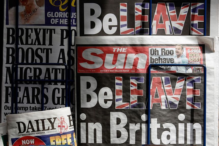Copies of The Sun on a news stand in London on June 14. The tabloid urged readers to vote to leave the EU.