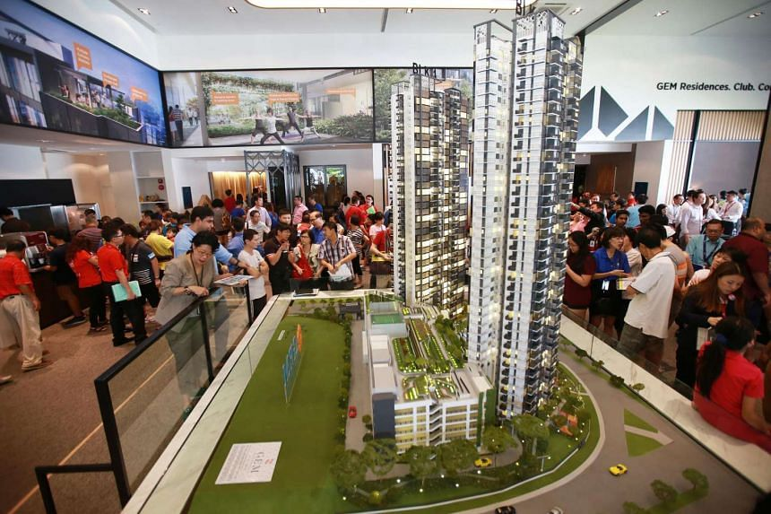 Potential buyers at the Gem Residences showflat in Toa Payoh in 2015.