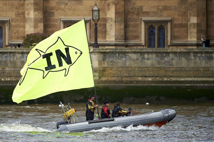 "A boat flying a large ""In"" flag sails by the British Houses of Parliament to meet a flotilla of boats from the group ""Fishing for Leave"" on the river Thames in London on June 15, 2016."