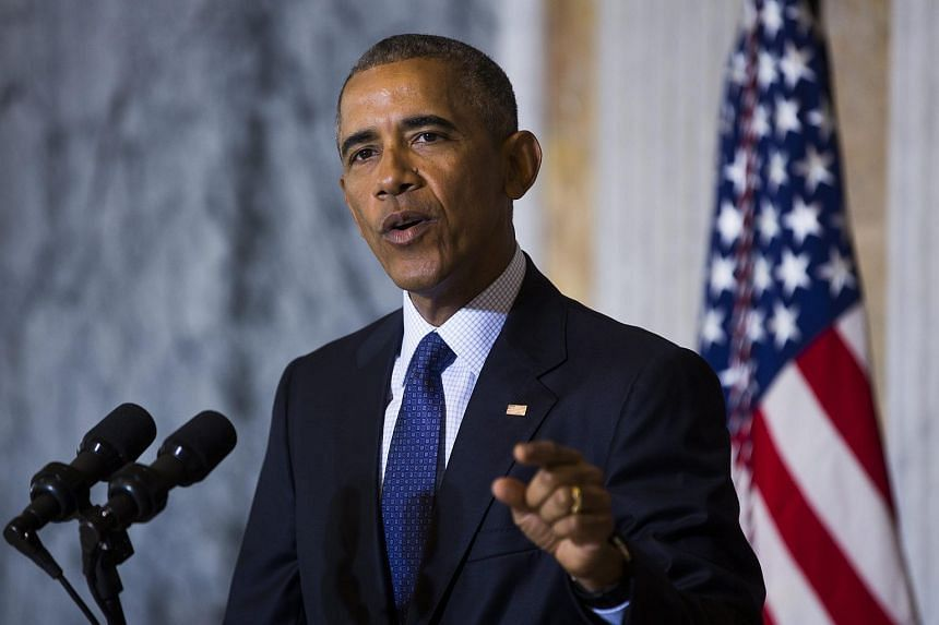US President Barack Obama speaking on the Orlando shooting at the Treasury Department in Washington, DC, on June 14.