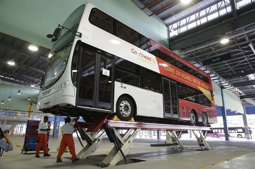 A Go-Ahead bus in the new Loyang bus depot's workshop, on June 16, 2016.