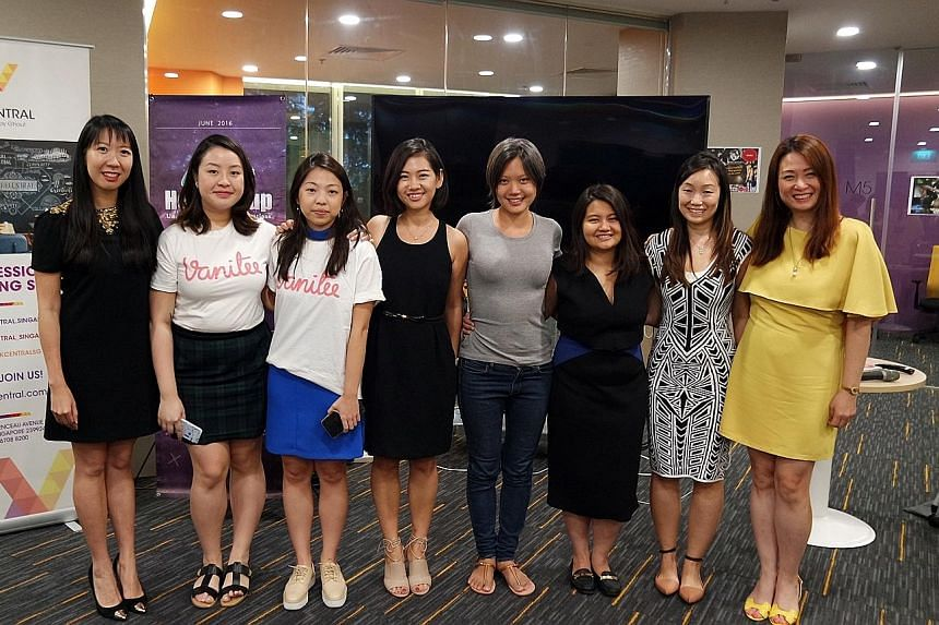 Ms Kuik (third from left) and Ms Tan (fifth from left) are finalists in the first start-up competition for women. With them are (from left) Ms Ho Kheng Lian from Vectr, Ms Natalie Loh from Vanitee, Ms Pocket Sun from SoGal, Ms Virginia Tan from Lean