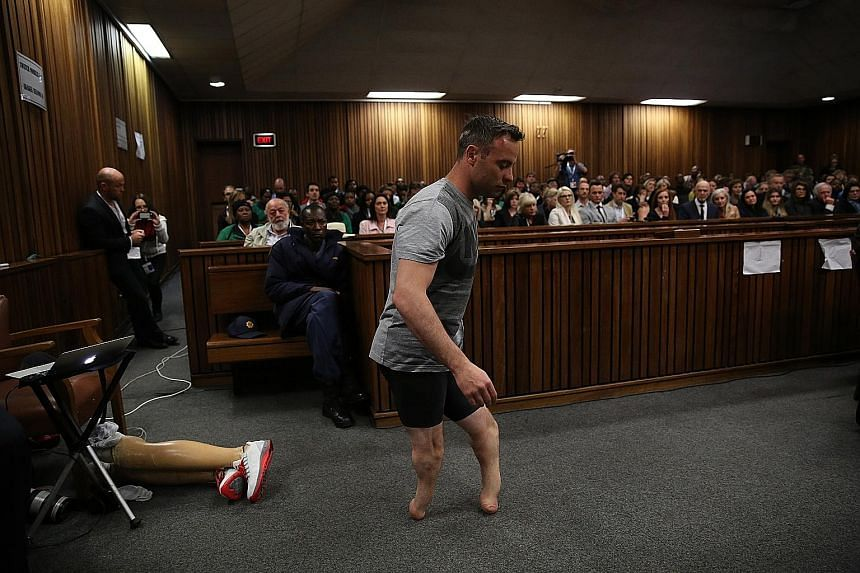 Pistorius removed his prosthetics and stood on his stumps for five minutes in front of the court television camera yesterday.
