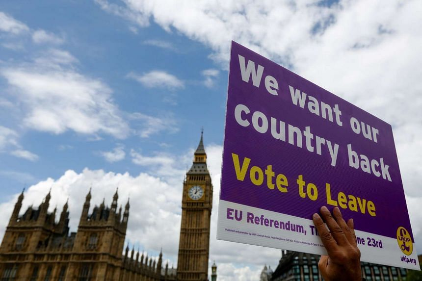 """A """"Leave"""" campaign demonstrator holds a placard outside Houses of Parliament in London on June 15, 2016."""