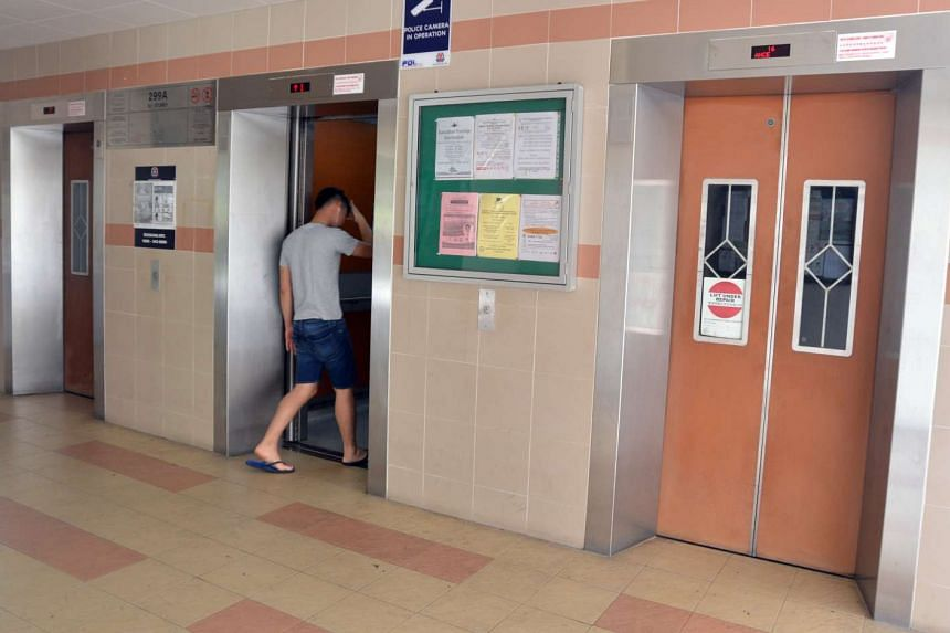 A malfunctioning lift at Block 299A, Compassvale Street.