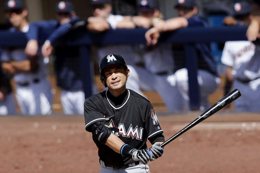 Miami Marlins batter Ichiro Suzuki of Japan reacts during an at-bat against the San Diego Padres at Petco Park in San Diego, California, on June 15, 2016.