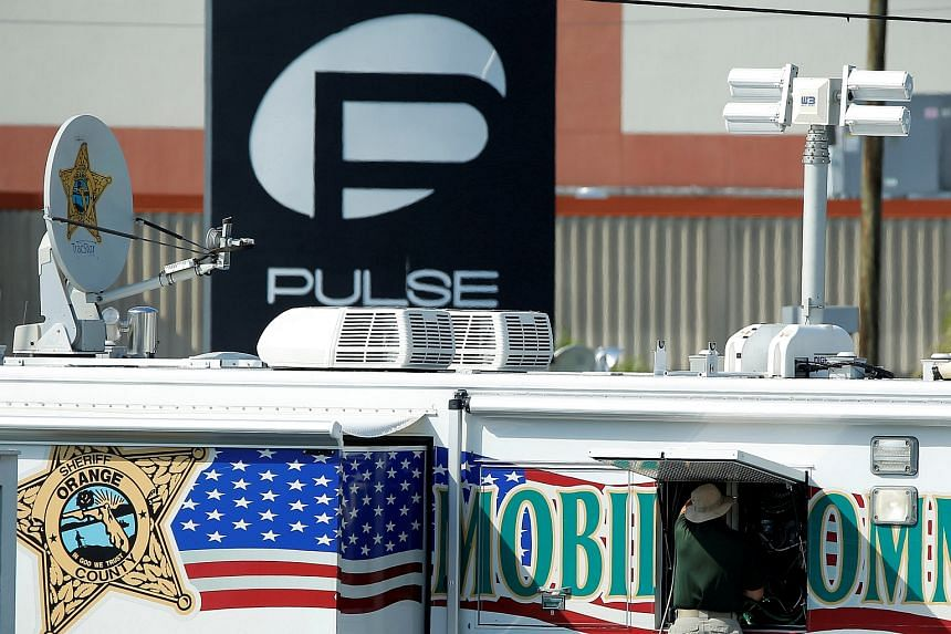 Police setting up a command centre at the scene of the shooting at the Pulse nightclub in Orlando, Florida, on June 15.