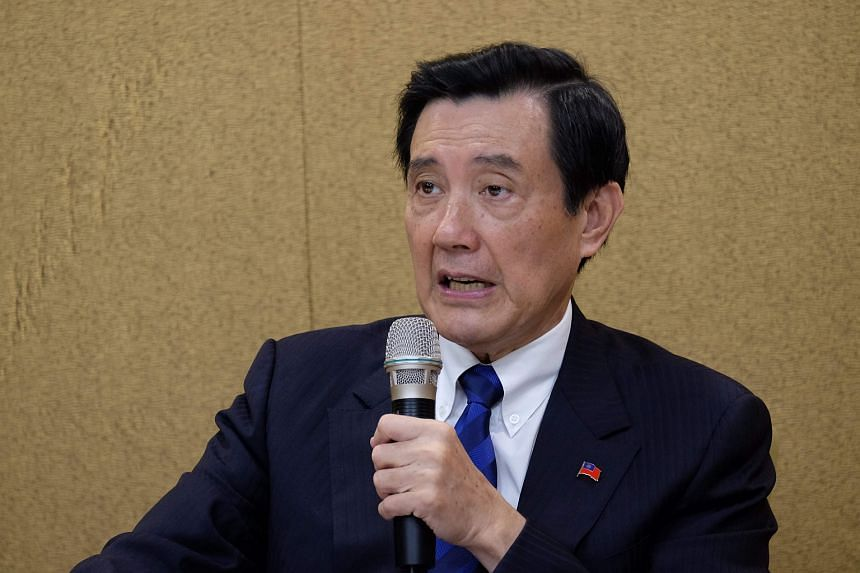 Former Taiwan president Ma Ying-jeou speaking at a press conference in Taipei on June 16.