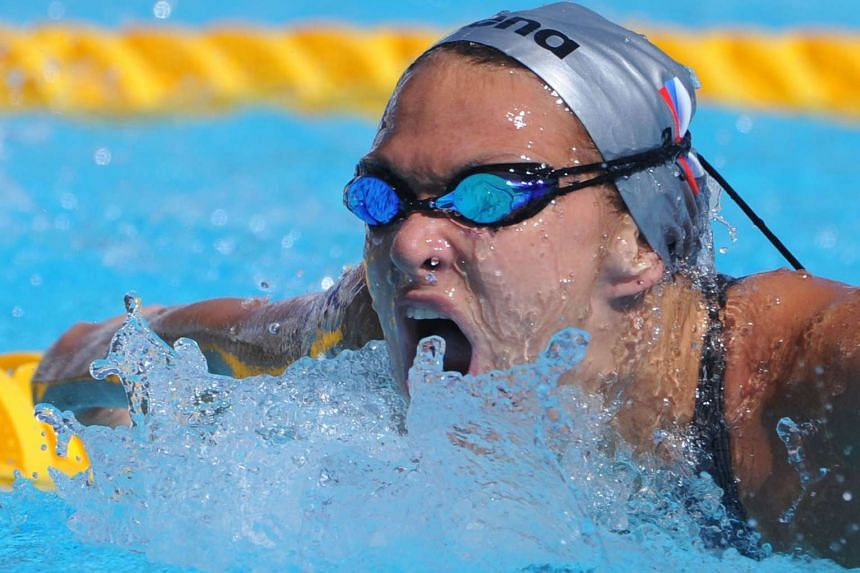 Russia's Yana Martynova competing during the women's 400m individual medley qualifications at the Fina World Swimming Championships in Rome, on Aug 2, 2009.