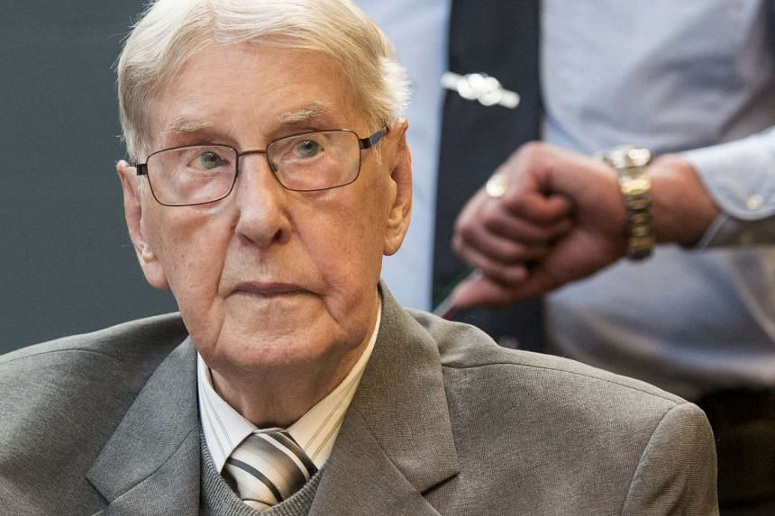 Reinhold Hanning, a 94-year-old former guard at Auschwitz death camp, sits in a courtroom before his verdict in Detmold, Germany on June 17, 2016.