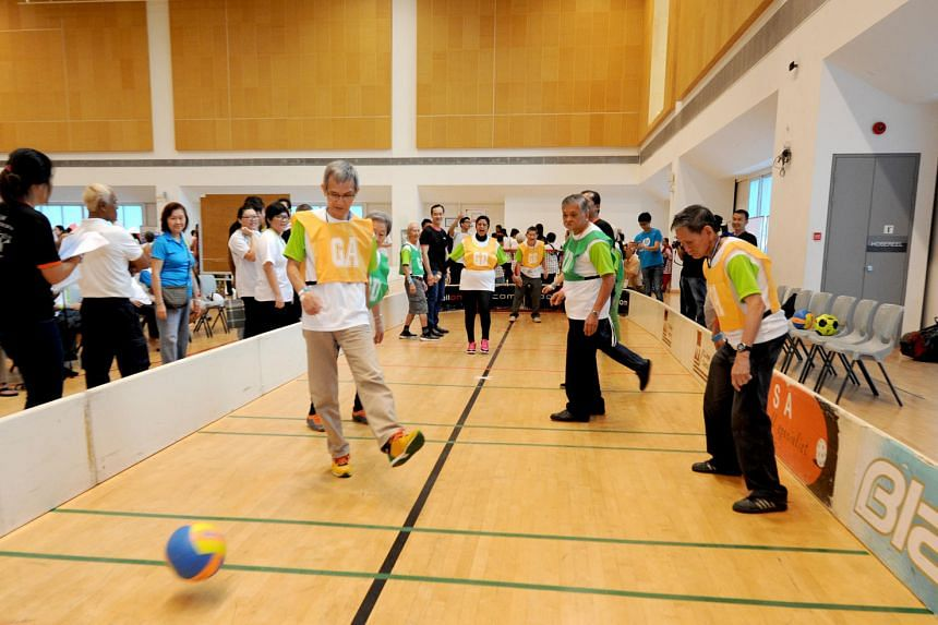 Seniors from AWWA HSC and other eldercare service providers taking part in various sporting events at the AWWA 7th Silver Sports Day 2016, on June 17, 2016.