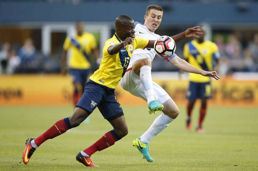 US defender Matt Besler (5) vies for the ball with Ecuador forward Enner Valencia (13) during the second half of quarter-final play in the 2016 Copa America Centenario soccer tournament at Century Link Field.