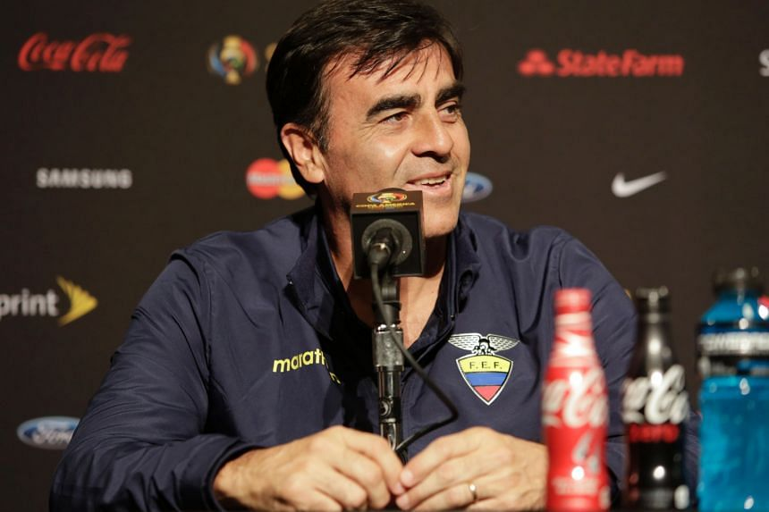 Ecuador manager Gustavo Quinteros speaks during a press conference for the Copa America Centenario football tournament in Seattle, Washington on June 15.