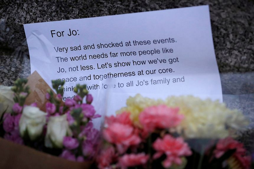 A card in tribute to Jo Cox seen near the scene where she was killed in Birstall near Leeds, on June 16.