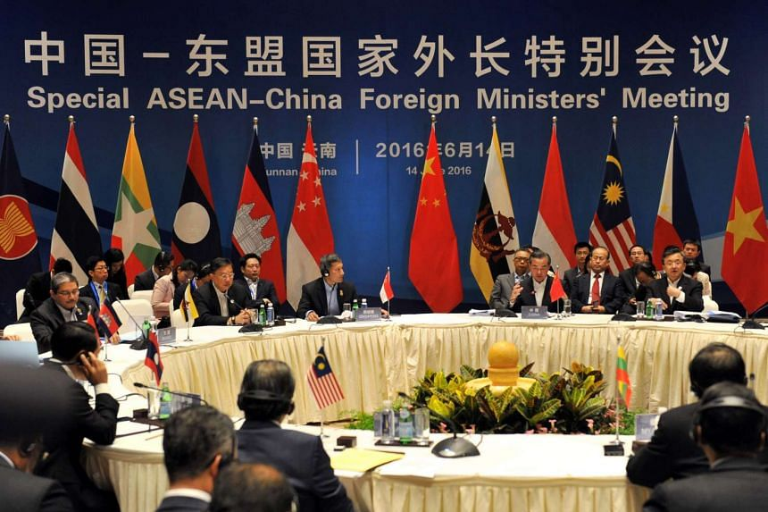 Foreign ministers from Asean-member nations attend a special Asean-China foreign ministers' meeting in Yuxi, south-west China's Yunnan province on June 14, 2016.