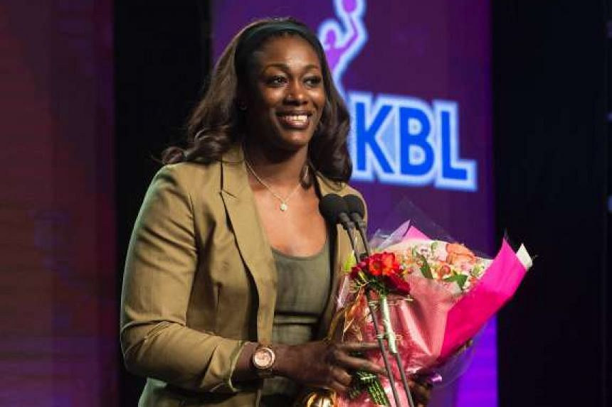 Basketball player Chelsey Lee during an awards ceremony in Seoul, on March 7, 2016.