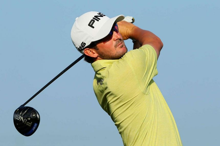 Andrew Landry plays his shot from the 12th tee during the first round of the US Open.