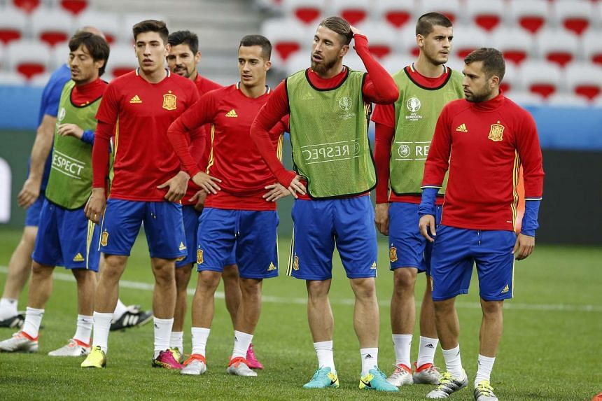 Spanish players during a training session of the Spanish team at Stade de Nice in Nice, France, on June 16. Spain will face Turkey on June 17.