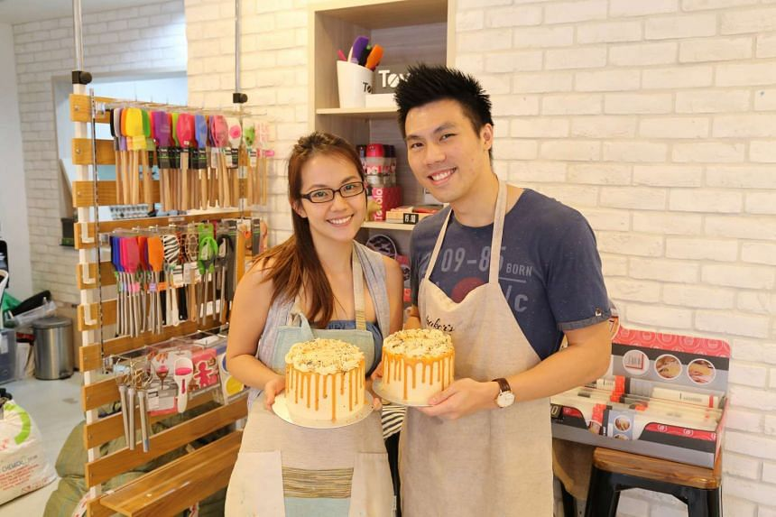 Participants at Baker's Brew Studio with their Thai Milk Tea Cake (above).