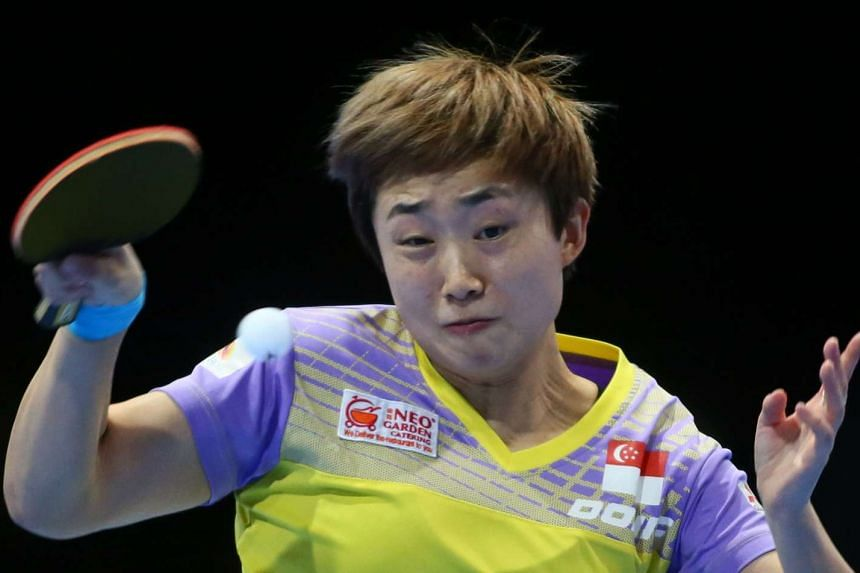Feng Tianwei in action in Dubai on April 30, 2016.